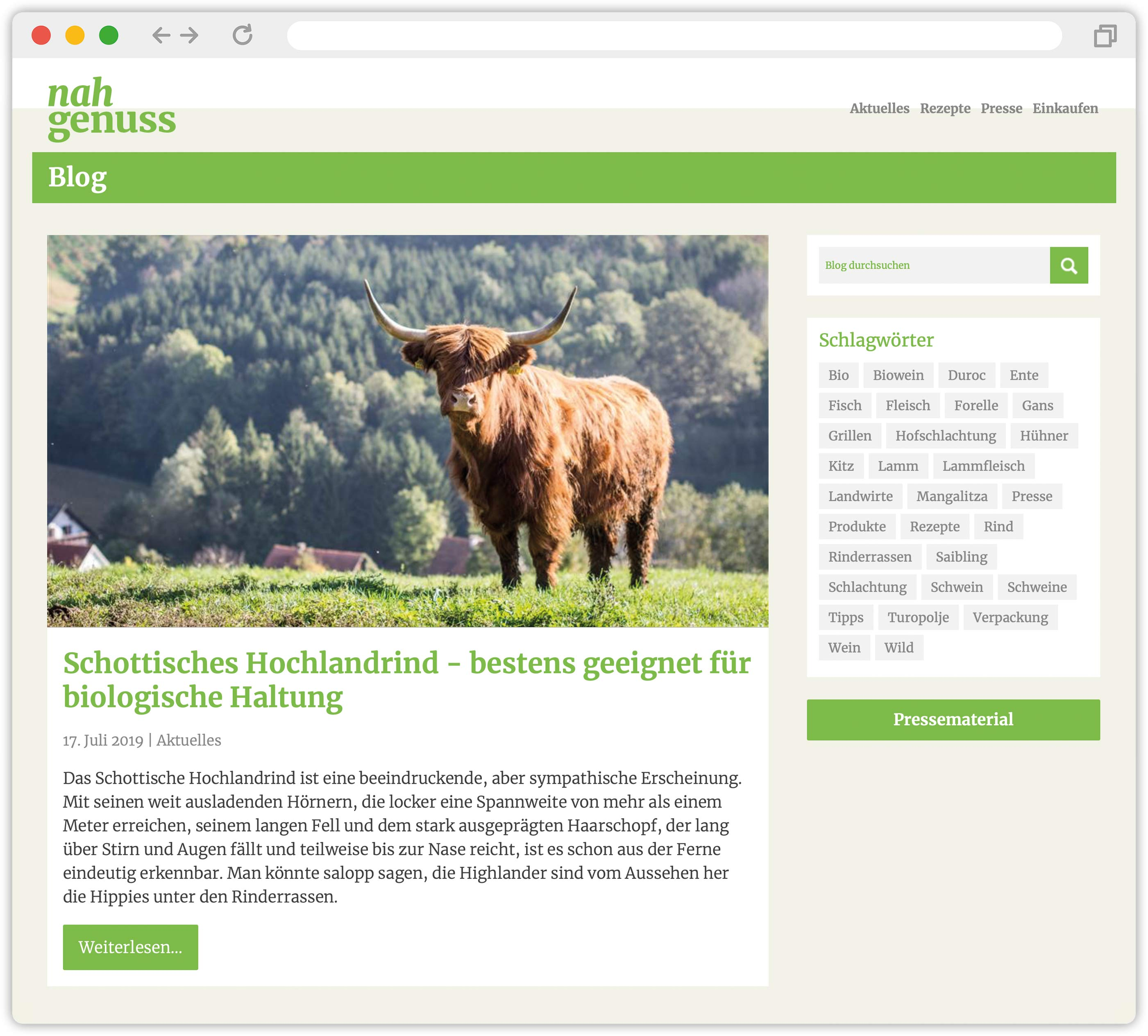 Screenshot vom Nahgenuss-Blog